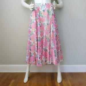 Vtg 80s Sheer Rose Floral Print Full Maxi Skirt S